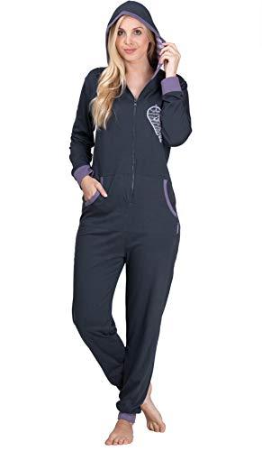 maluuna - Damen Jumpsuit, Onesie, Overall, Einteiler mit Bündchen an Arm- und Beinabschluss aus 100% Baumwolle, Farbe:anthrazit, Größe:44-46