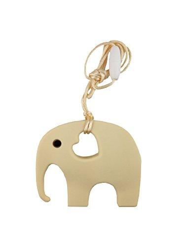 Mordedor en Forma de Elefante para Bebés - Silicona Orgánica y Natural, Antibacteriana, sin BPA - Ayuda a Prevenir el Dolor de Dientes y Encías del Bebé, Estimula la Dentición - Beige