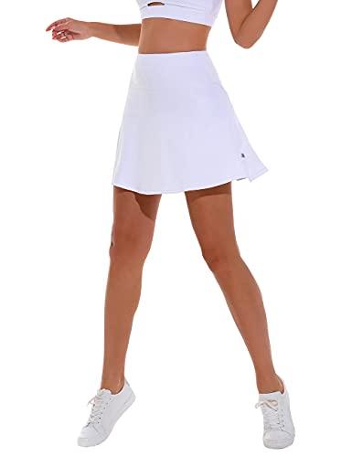 Gonna da tennis con pantaloni, da donna, per yoga, con tasca, 1 bianco, S