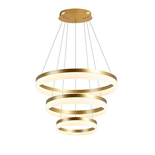 3-Anillos LED Araña Abajo Techo Colgante Luz Tricolor TRICOLOR Dimmable Altura Ajustable Lámpara Colgante Para Dormitorio Sala de estar Comedor Cocina Dorado [Clase de energía A ++]