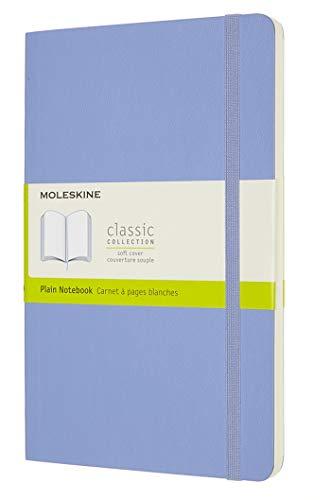 Moleskine - Klassisches Notizbuch, Blanko Seiten, Softcover und elastischer Verschluss, Größe 13 x 21 cm, Farbe hortensienblau, 240 Seiten