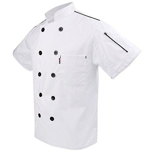 P Prettyia 2x Unisex Atmungsaktive Kochjacke Bäckerjacke mit Knöpfe Koch Arbeitsjacke Kochhemd Küche Arbeitskleidung XL - 8