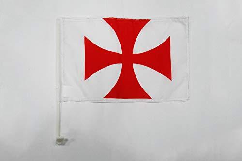AZ FLAG AUTOFAHNE TEMPLERORDEN 45x30cm - TATZENKREUZ TEMPELHERREN AUTOFLAGGE 30 x 45 cm Auto flaggen