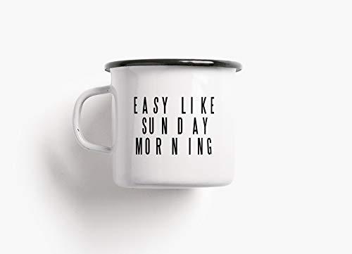 Emaillebecher Tasse - Sunday Morning - von typealive - Becher in schwarz und weiß mit lustigem Spruch zum Campen, für Weihnachten oder Geburtstag