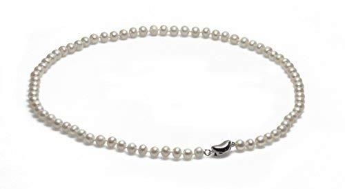 Schmuckwilli echte Perlen Süßwasserperlen Perlenkette weiß mit 925 sterling Silber Verschluß 45cm 6-7mm dsk0006-45