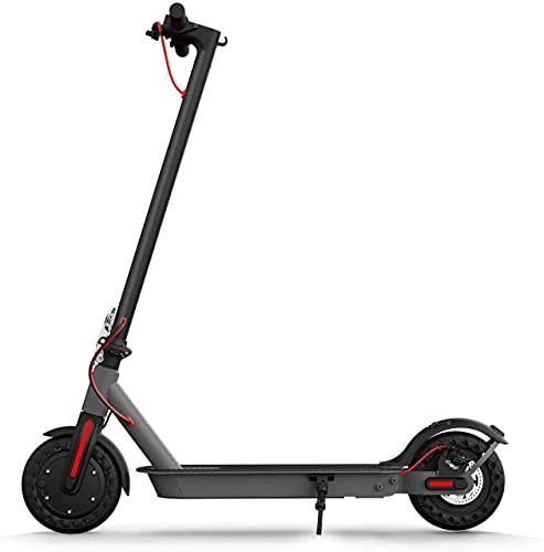 Patinete eléctrico – Neumáticos macizos de 8,5 pulgadas – Hasta 17 km de largo alcance & 18 MPH patinete plegable para adultos con sistema de doble freno y aplicación