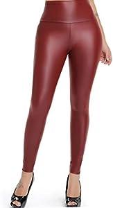 FITTOO PU Leggings Cuero Imitación Pantalón Elásticos Cintura Alta Push Up para Mujer #2 Clásico Rojo Oscuro XS