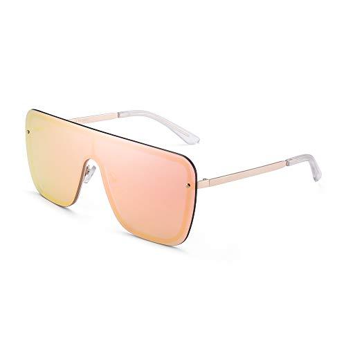 GLINDAR Överdimensionerade sköldsolglasögon för kvinnor män platta ovanpå båglösa glasögon, - Guldram/spegel rosa lins - en storlek
