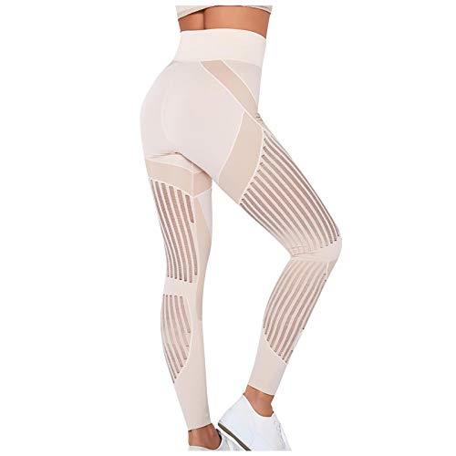 Celly Pantalones de correr para mujer, leggings de cintura alta, pantalones de yoga con estampado hueco, pantalones atléticos con control de abdomen