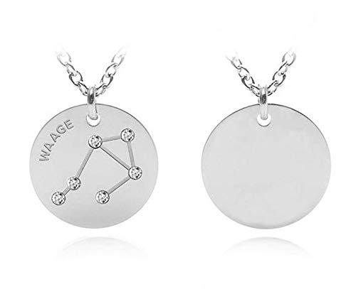 silvity Edelstahl Gravur Sternzeichen Kette verdelt mit Swarovski® Kristallen Geschenk-Box 696404-20-P (Waage)