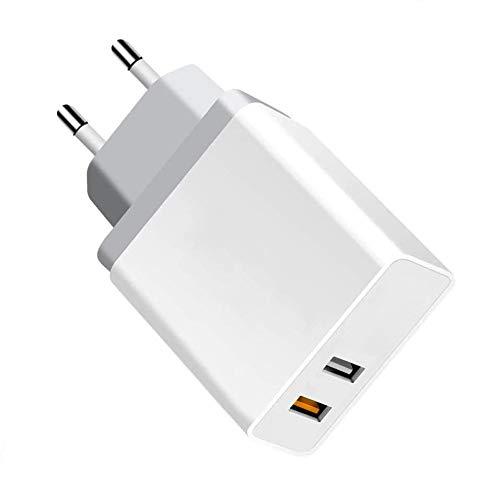 PRITECH Quick Charge 3.0 Cargador de Viaje Enchufe Cargador USB Carga Rápida con 2 Puertos una Rápida y Otro Normal Adaptador de Corriente para móviles Android,Xiaomi, Samsung S10/S9/ S8 y más.