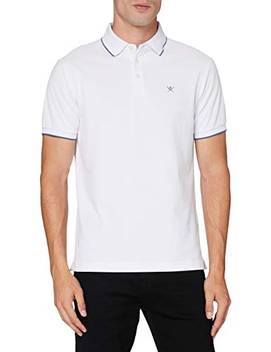 Hackett London Herren Multi Trim Pique Polohemd, 800weiss, M