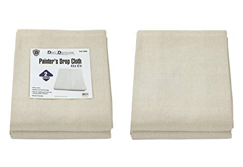 Pack of 2: Canvas Drop Cloth Cotton Tarp 4x12 Large Canvas Tarp for Art Supplies, Drop Cloths for Painting Supplies/Paint Canvas Fabric or Couch Cover and Furniture Cover from Paint by Dirt Defense