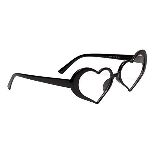 Amuzocity Gafas de Sol de Corazón con Montura de Plástico Hippie Hermosas Gafas UV400 para Mujer - Montura Negra + Lente Transparente