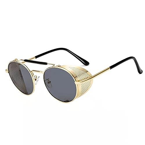 FACHA Gafas de sol unisex retro Steampunk retro de metal redondo Steampunk (color: B, tamaño: M)