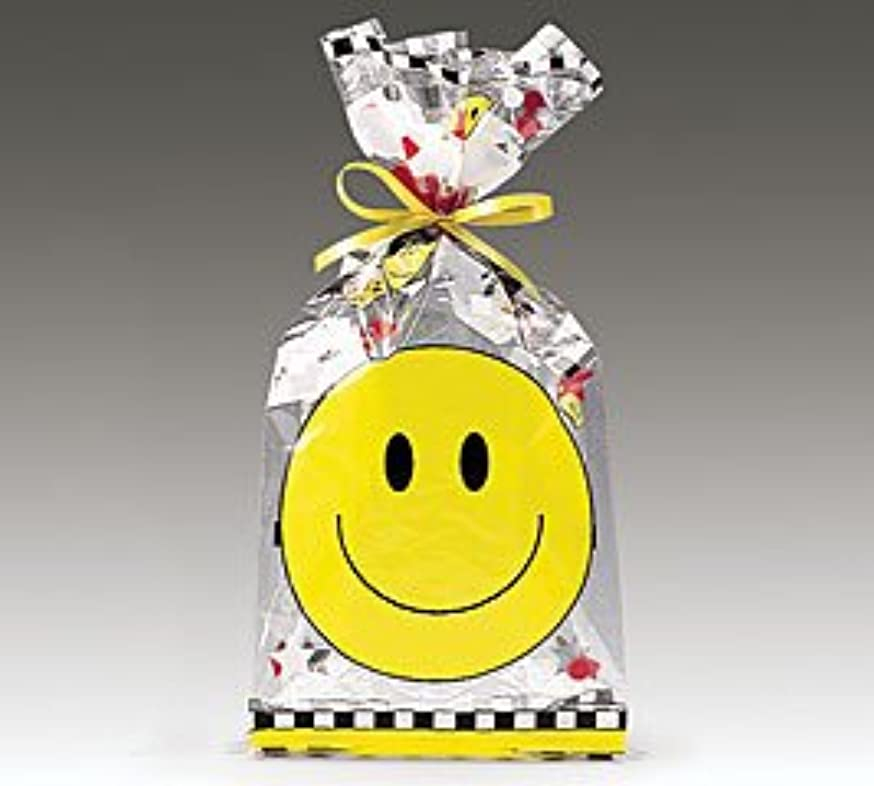 (100) Smiley Face Cellophane Gift Bags