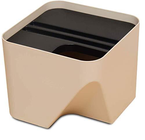 ゴミ箱 分別 10L シール付き ダストボックス 重ねる (アイボリー, 発泡スチロール)