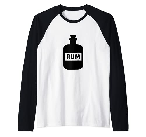 Botella de ron Pirata Beber Camiseta Manga Raglan
