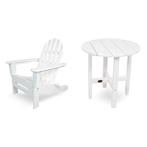 """POLYWOOD AD5030WH Classic Folding Adirondack Chair, 35.00"""" x 29"""" x 35.00"""", White & RST18WH Round 18"""" Side Table, White"""