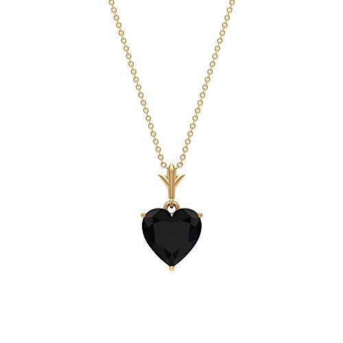 Rosec Jewels 10 quilates oro amarillo corazón Black Espinela negra