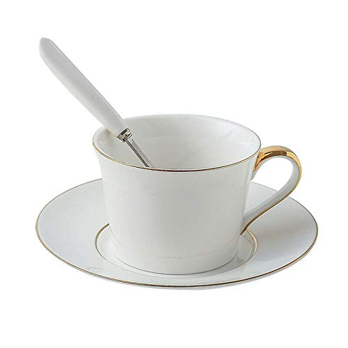 GFHTH Set Tazza E Piattino da caffè in Ceramica Bone China Upscale Tazza da tè Nero Office Semplice Bianco Dipinto A Mano Bordo Oro Tazze Tazze Piattini