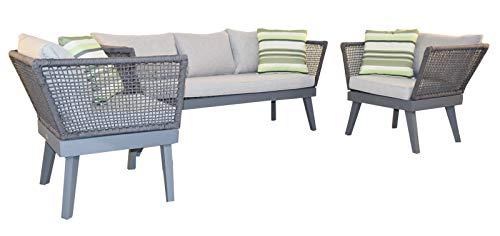 Jet-line Gartenset Loungemöbel \'Cuba\' Hellgrau Exklusive Garten Lounge Möbel Seilwicklung Sofa Sessel Top Qualität
