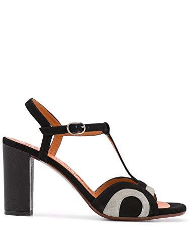 Chie Mihara Hochhackige Sandalen BALENA in Kombination aus grauem und schwarzem Leder. Größe: 38 EU