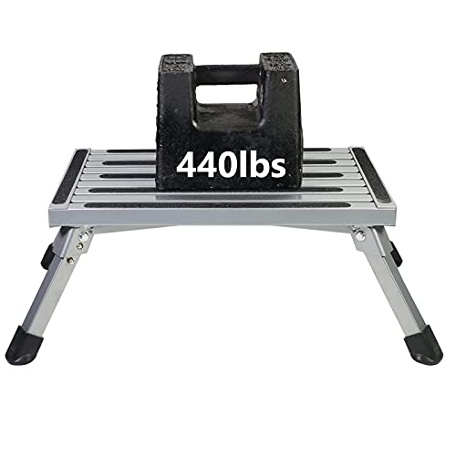 Aluminum Folding RV Step Ladder, Working Platform, One Step Ladder,...