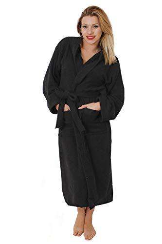 LOVETRENDS Unisex badstof badjas van 100% katoen badjas voor dames of heren - Super absorberende sjaal met capuchon met 2 zakken
