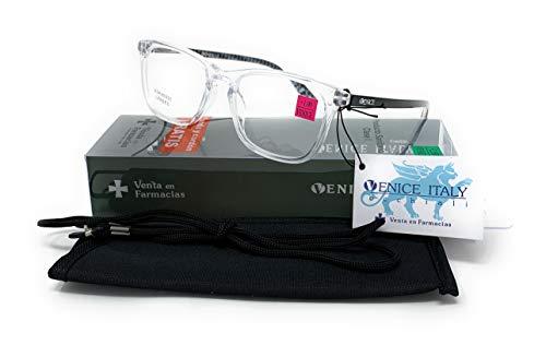 Gafas de lectura, presbicia, vista cansada, Mujer Diseño en Colores: Transparente, Marrón, Azul y Rojo. VENICE Crystal - Dioptrías: 1 a 3,5 (Transparente, 1,00)