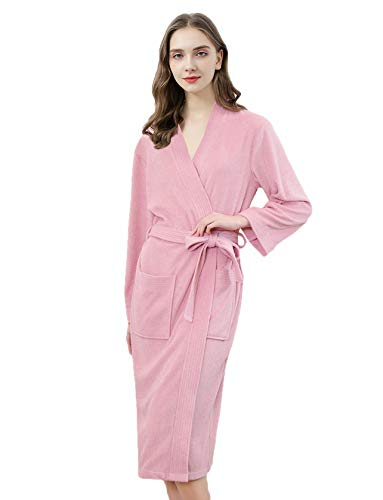 Women's Terry Cloth Robes Towel Bathrobes Long Soft Absorbent Robes Home Hotel Spa Robe Sleepwear Pajamas (Pink, M)