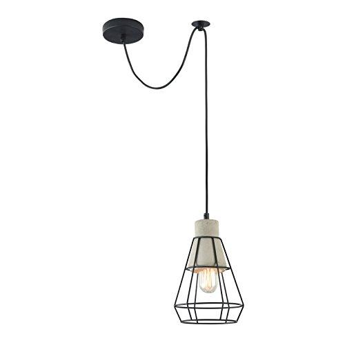 Designer Beton Pendelleuchte Loft, Schirm aus schwarzem Metall-Käfig, schwarzes Kabel, höhenverstellbar, 1-flammig, exkl. E27 40W, 220-240V