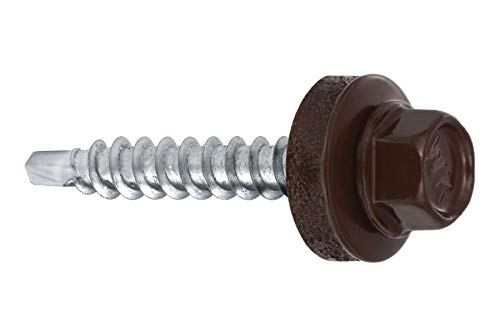 Trapezblech Schrauben Bohrschrauben Dach Fassadenschrauben 4,8x35mm 250 Stück - RAL:8017 (Schokoladenbraun)