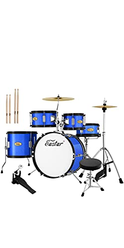Drum Set Eastar 16 inch Kids Drum Set 5-Piece Junior Drum Set for Kids with Adjustable Throne and Cymbal, Pedal & Drumsticks, Metallic Blue (EDS-350Bu)
