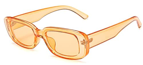 Secuos Moda Gafas De Sol Cuadradas Pequeñas para Mujer, Diseñador De Marca Vintage, Retro, Rectangular, para Mujer, para Hombre, Gafas De Sol para Mujer, Gafas Uv400, Naranja Transparente
