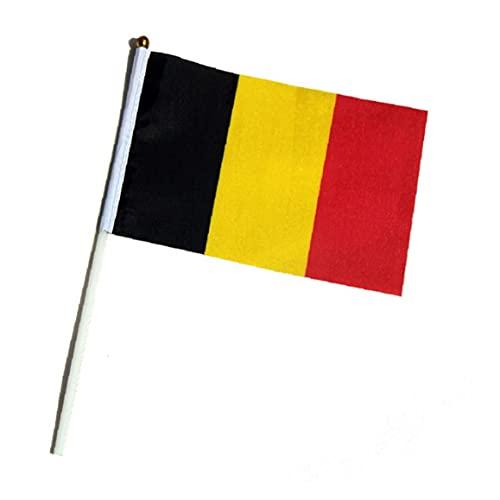 Belgien Stock-Flagge Durable Belgien Handmini-Flag Fade Resistant Nationale Banner für Olympic, Bar, Schule Sportveranstaltungen, 10pcs Flagge Dekor Party Supplies