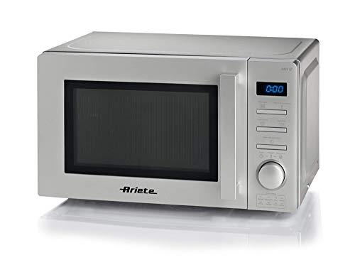 Ariete 953, Horno de Microondas Digital, 20 litros, Calefacción, Cocina y Descongela, 5 niveles de potencia, 8 modos de cocción preestablecidos, Plato giratorio 25,5 cm, Temporizador 95 minutos, Plata