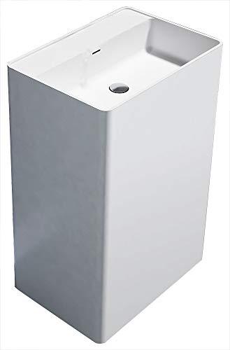 Bernstein Badshop Freistehendes Waschbecken aus Mineralguss PB2022 Standwaschbecken in weiß - 60 x 42 x 90 cm - Solid Stone