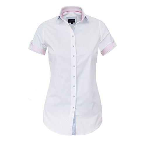 HEVENTON Bluse Damen Kurzarm in Weiß, Hemdbluse - Größe 34 bis 50 - Elegant und Hochwertig Farbe Weiß, Größe 42