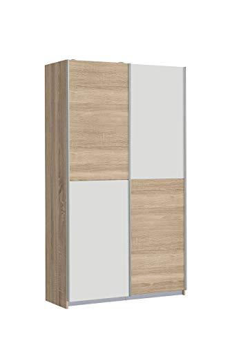 FORTE Ohio Mehrzweckschrank, Holz, weiß / sonoma eiche dekor, 120 x 42 x 190.5 cm
