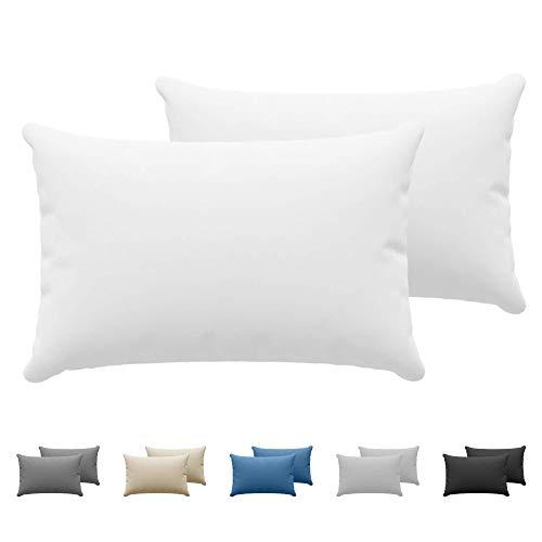 Dreamzie - Set de 2 x Taie Oreiller 50 x 70 cm - Blanc - 100% Premium Coton Jersey 150gsm - Housse de Coussin Résistant et Hypoallergénique