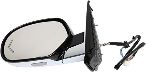 Mirror Compatible with 2007-2014 Cadillac Escalade/Escalade ESV Power Power Folding Heated with Memory Signal and Puddle Light Paintable Driver Side