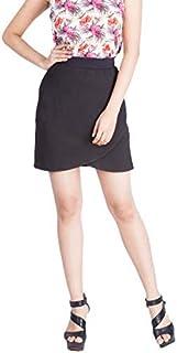 Zink London Black Zipper Down Layered Short Skirt for Women