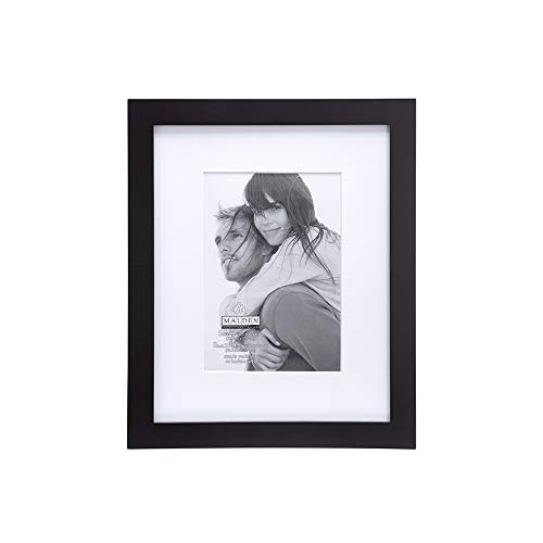 Malden International Designs Matted Linear Classic Wood Picture Frame, Black ( 5x7-Inches )
