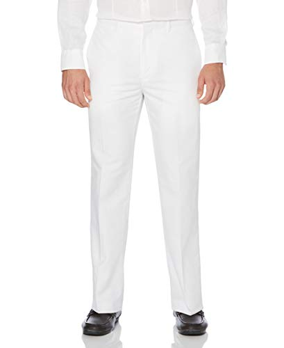Cubavera Men's Linen Cotton Herringbone Textured Pant, Bright White, 36X32