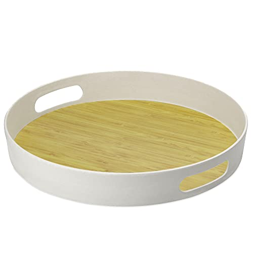 Plateau rond en bambou | Plateau de service en fibre avec poignées | Matériau naturel écologique | Sans BPA | Parfait pour les boissons et les aliment