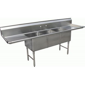 """Allstrong ALLST-SE18183D 3 Compartment Sink with 18"""" Drain Boards, 18"""" x 18"""" x 12"""", Stainless Steel Silver"""