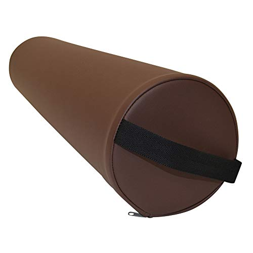Massage Lagerungsrolle mit Griff für die Massageliege - Vollrolle Knierolle mit PU-Bezug in verschiedenen Farben und wasserabweisend (Braun)
