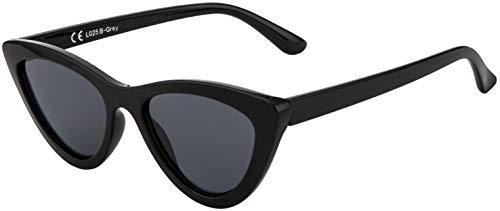 La Optica B.L.M. UV400 CAT 3 CE Damen Sonnenbrille Cateye Katzenaugen - Schwarz (Gläser: Grau)_LO25 B-Grey