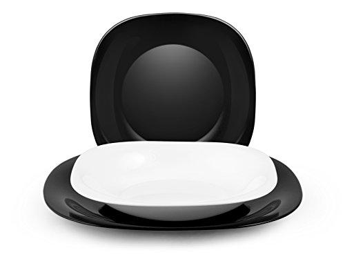 H&H Black&White - Vajilla de 18 piezas, cristal opalino, blanco/negro